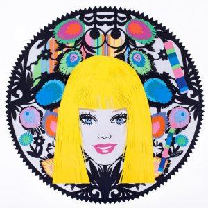 Kasia Kmita, Lalka, 100 x 100 cm, ręcznie wycinany papier kolorowy, 2012