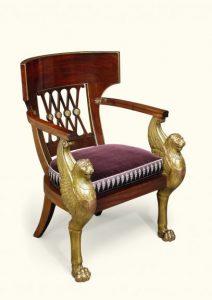 Fotel z drewna mahoniowego, ok. 1796-1803, źródło: Sotheby's