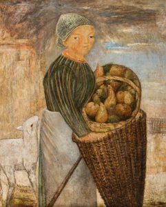 Tadeusz Makowski, Dziewczynka z koszem owoców i barankiem, 1923, olej półtno, 100x81cm, źródło: Polswiss Art