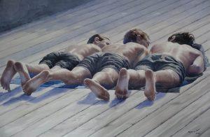 Galeria TSEKH Ievgen Petrov, Boys, 2016, watercolor on paper, 150x100 cm, źródło: materiały prasowe