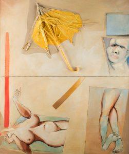 Tadeusz Kantor, Ambalaż: parasol i postacie, 1967, źródło: Polswiss Art