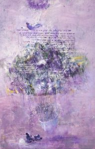 Mira Żelechower – Aleksiun, z cyklu Uciszanie demonów, Drabina Jakuba ,2014, akryl na płótnie, 125 x 75 cm. źródło: Galeria Miejska we Wrocławiu