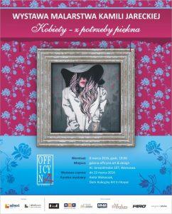plakat reklamujący wernisaż wystawy Kamili Jareckiej w galerii officyna art & design