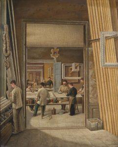 Wnętrze sklepu z ramami, ok. 1900, nieznany autor