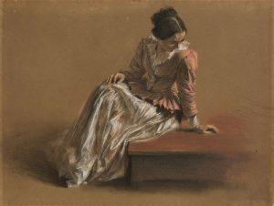 """Adolph Menzel, """"Emilie Menzel w czerwonej bluzce"""", pastel, ok. 1850, źródło: Villa Grisebach"""