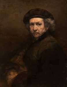 """Rembrandt van Rijn, """"Selfportrait with beret and turned-up collar"""", 1659"""