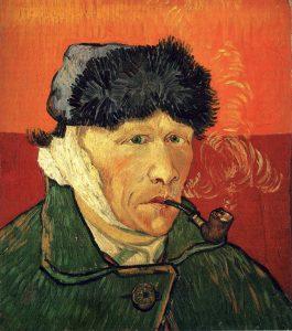 """Vincent van Gogh, """"Autoportret z zabandażowanym uchem i fajką"""", 1889"""