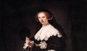 """Rembrandt van Rijn, """"Portrait of Oopjen Coppit"""", 1634, detal"""