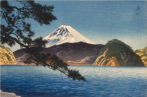 """Itō Shinsui, """"Góra Fuji widziana z Mitohamy"""", 1938, źródło: Materiały prasowe Muzeum Reitberg"""