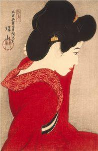 """Itō Shinsui, """"Przed Lustrem"""", 1916, źródło: Materiały prasowe Muzeum Reitberg"""
