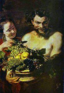 Jacob Jordaens, Satyr i dziewczyna z koszem owoców