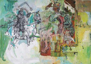 Sylwia Godowska, Henryk VI, tempera, collage, 100x140cm, 2009