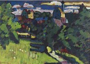 Wassily Kandinsky, Widok z zamkiem, kościołem i koleją, 1909, źródło: Christie's