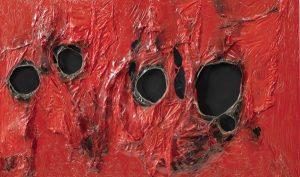 Alberto Burri, Rosso Plastica 5, 1962, źródło: Sotheby's