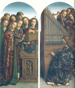 """Jan Van Eyck, Hubert van Eyck, """"Adoracja Mistycznego Baranka"""", Śpiewające anioły, 1432"""