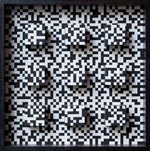 """Ryszard Winiarski """"Penetracja przestrzeni realnej"""", 1974 (akryl, płyta, 52 x 52 cm)"""