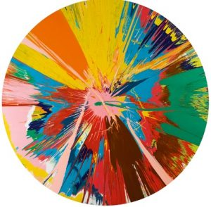 Damien Hirst, Beautiful, Shattering, Slashing, Violent, Pinky, Hacking, Sphincter Painting, 1965, źródło: Sotheby's