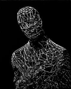 Krzysztof Nowicki, Portret młodzieńca, akryl na płótnie, 2015