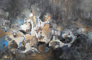 Małgorzata Pabis, Bez tytułu, 2016, technika własna: farba lateksowa, struktura, płatki złota, srebrny i złoty niuans, płótno, 80 × 120 cm, źródło: materiały organizatora