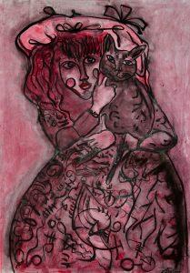 Rafał Michał Szaton, Olga z kotem, 2012, materiały dzięki uprzejmości artysty