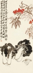 Qi Baishi, Cabbage, Quail and Nandina, źródło: Polly Auction Hong Kong