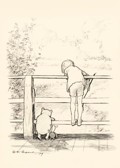 E. H. Shepard, For a Long Time They Looked at The River Beneath Them..., Sotheby's