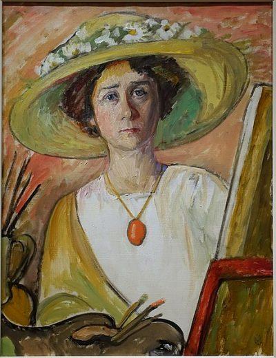 Gabriele Munter, Autoportret przed sztalugą, 1908-1909