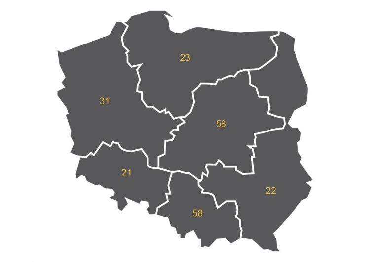 Mapa 1. Podmioty działające na rynku dzieł sztuki i antyków według regionów (NTS1), źródło:GUS.