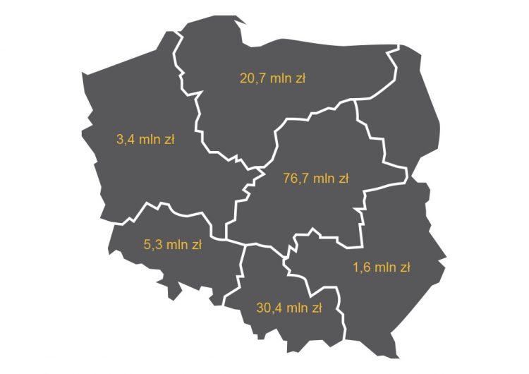 Mapa 2. Sprzedaż dzieł sztuki i antyków według regionów (NTS1), źródło:GUS.
