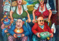 Jacek Lipowczan, ...a miało być jak w raju, z cyklu Emigranci, olej na desce, 65x50 cm
