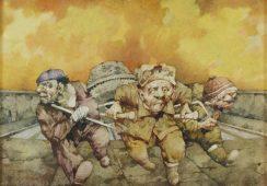 Jerzy Duda-Gracz, Jeźdźcy apokalipsy, 1995, olej, płótno, 60x80cm - materiały prasowe Piękna Gallery - rynekiszuka.pl