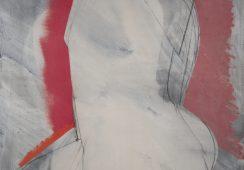 Władysław Jackiewicz, Akt z czerwienią, 1990, olej, płótno, 130x97cm - materiały prasowe Piękna Gallery - rynekiszuka.pl