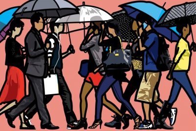 DavisKlemm Gallery, Julian Opie Walking in the rain, Seoul, 2015