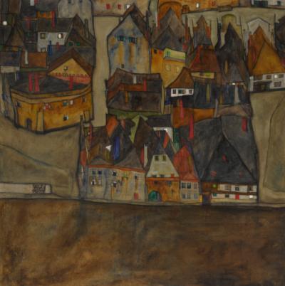 Egon Schiele, Dämmernde Stadt (Die Kleine Stadt II), 1913; źr: Sotheby's - rynekisztuka.pl