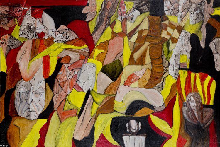 Sterowanie światem, olej na płótnie, 100 x 150 cm, 2012 r, sygnatura autorska- rynekisztuka.pl
