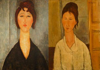 Amedeo Modigliani, portret młodej kobiety, 1918. Po prawej: Elmyr de Hory, portret młodej kobiety w stylu Modiglianiego, 1955 / rynekisztuka.pl