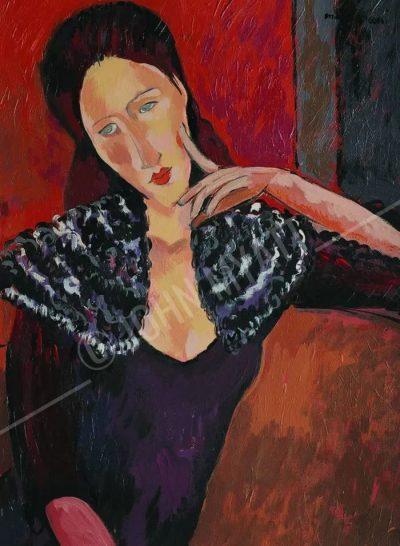John Myatt, portret Jeanne Hebuterne w stylu Modiglianiego, źr. johnmyatt.com / rynekisztuka.pl