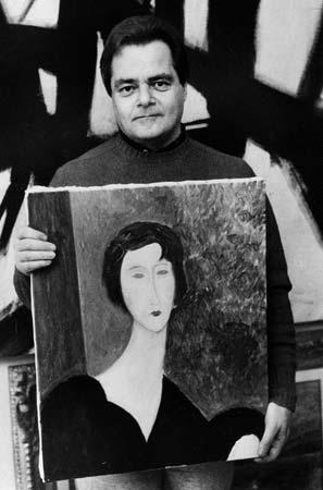 Davis Stein z falsyfikatem dzieła Modiglianiego; źr. kids.britannica.com / rynekisztuka.pl