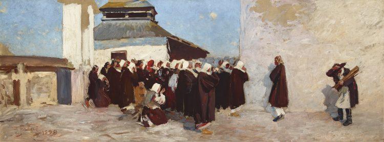 Julian Fałat, Przed cerkwią, 1899, ze zbiorów Muzeum Narodowego w Krakowie - rynekisztuka.pl