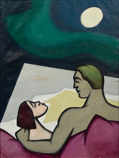 """Kajetan Sosnowski, """"Nocna rozmowa"""" z cyklu """"Pamiętnik liryczny"""", 1956, olej na płótnie, 133 x 102 cm - rynekisztuka.pl"""