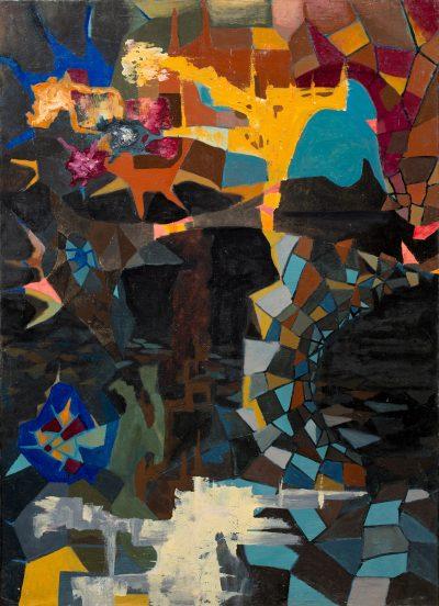 """Kajetan Sosnowski, """"Ogród smutku"""" z cyklu """"Erotyki"""", 1957, olej na płótnie, 137 x 100 cm - rynekisztuka.pl"""
