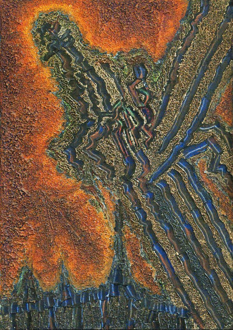 Jerzy Tchórzewski, Struktura, 1962, olej, płótno, 135×95 cm, nr inw. MZG-S-II-3137, praca eksponowana na V Złotym Gronie (1971); materiały Muzeum Ziemi Lubuskiej w Zielonej Górze