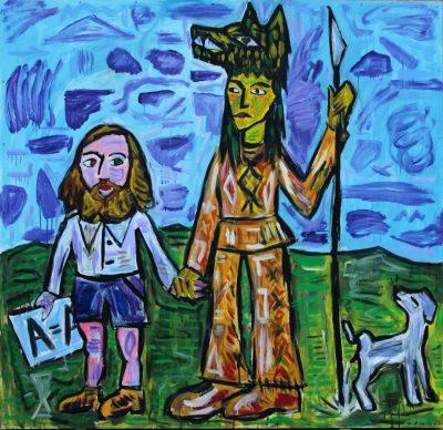 Zdzisław Nitka, Malarz i szaman, olej na desce, 152x152 cm, 2019; źr. Galeria Miejska we Wrocławiu