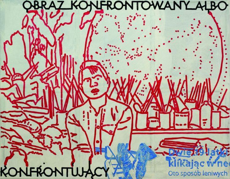Marek Soczyk, Francis Bacon na tle lustra [Obraz konfrontowany albo konfrontujący], 2019, 180x230 cm, tempera jajkowa na płótnie