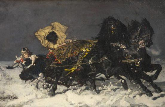Józef Chełmoński, Nocna jazda, 1873; źr. Sotheby's