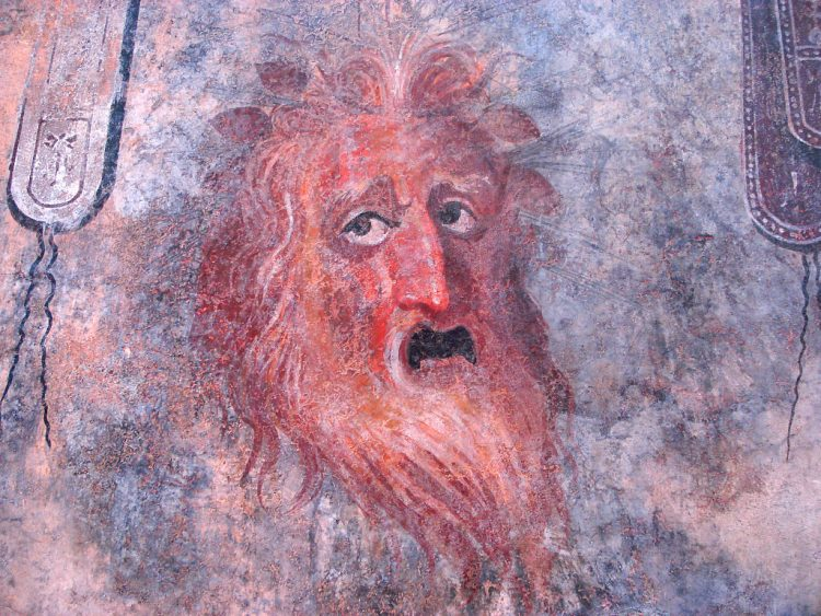 Malowidło ścienne z przedstawieniem maski teatralnej, I wiek p.n.e; Regionalne Muzeum Archeologiczne w Palermo