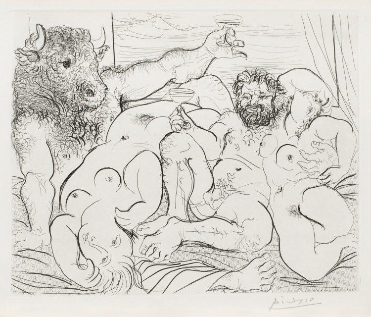 Pablo Picasso, Scene bacchique au minotaure, 1933.