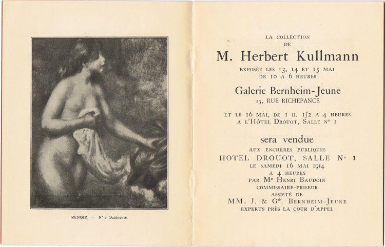 Okładka katalogu do aukcji z 1914, na zdj. Auguste Renoir Baigneuse z 1895 roku