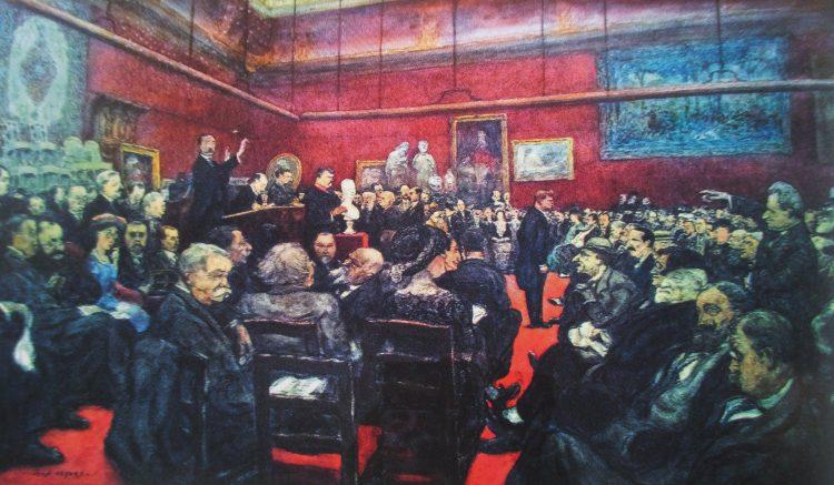 Wnętrze Hotelu Drouot podczas aukcjiw wykonaniu Me Lair-Dubreuil, Jean Lefort.