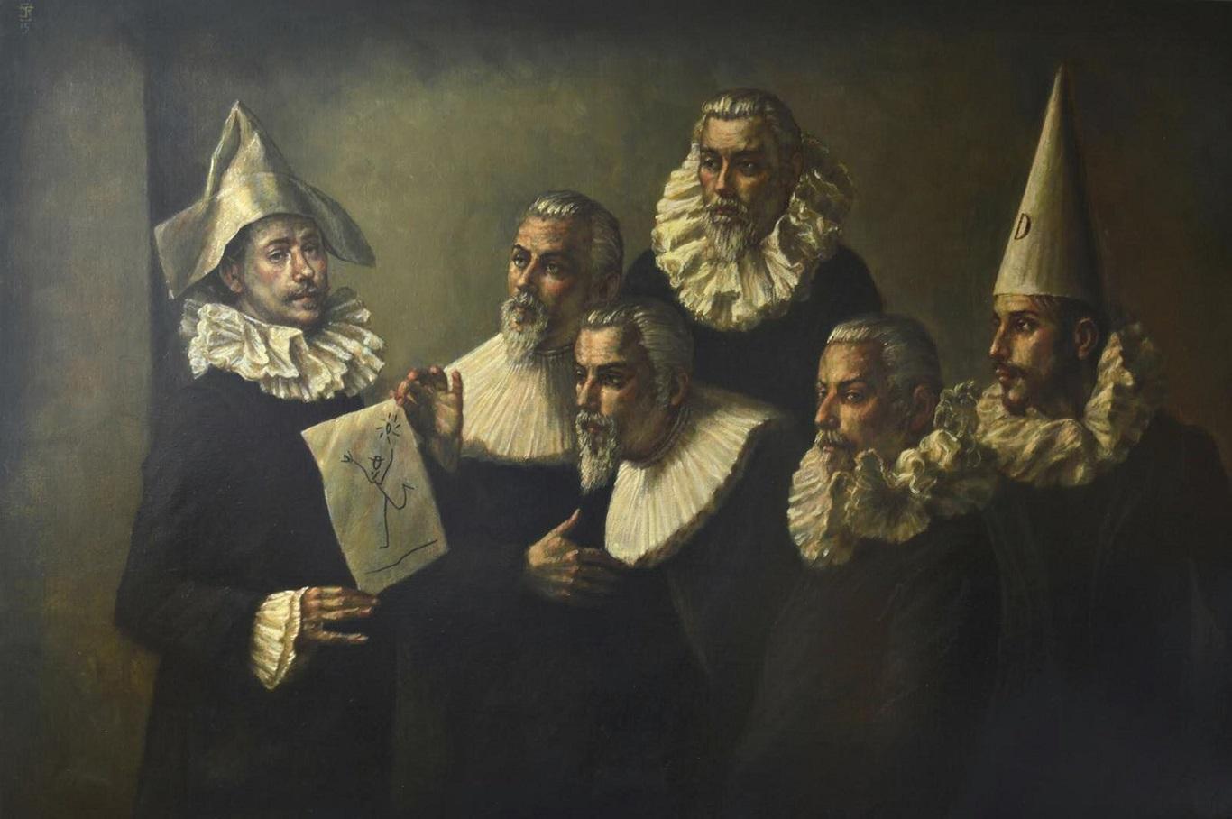 Jake BADDELEY, Lekcja malarstwa, olej na płótnie, 130x195 cm, 2013